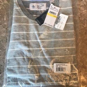 NWT - original penguin gray striped sweater